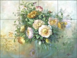 Yellow Poppies by Fernie Parker Taite Ceramic Tile Mural - POV-FPT003