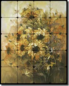 "Taite Sunflowers Floral Tumbled Marble Tile Mural 16"" x 20"" - POV-FPT004"