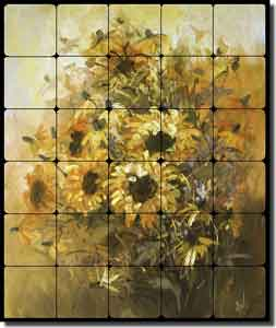 "Taite Sunflowers Floral Tumbled Marble Tile Mural 20"" x 24"" - POV-FPT004"