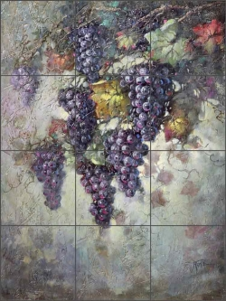 Grape Vine by Fernie Parker Taite Ceramic Tile Mural - POV-FPT007