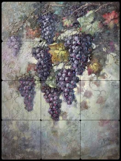 Taite Grape Vine Tumbled Marble Tile Mural POV-FPT007