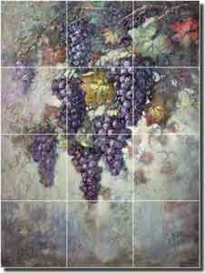 "Taite Grape Vine Glass Wall & Floor Tile Mural 18"" x 24"" - POV-FPT007"