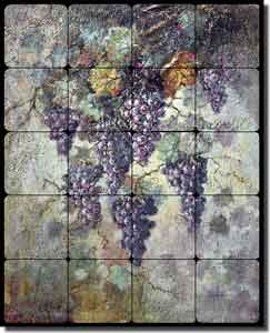 "Taite Grapes Grapevine Tumbled Marble Tile Mural 16"" x 20"" - POV-FPT009"