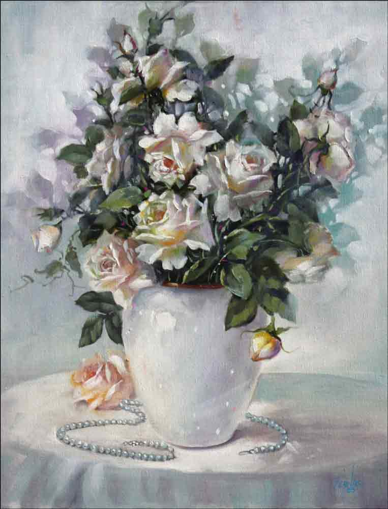 Roses in White Vase by Fernie Parker Taite Ceramic Accent & Decor Tile - POV-FPT014AT