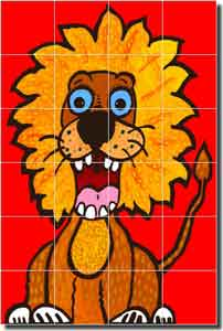 "Nebron Animal Lion Ceramic Tile Mural 17"" x 25.5"" - POV-GNA001"