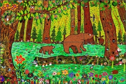 Bears in the Forest by George Nebron Ceramic Tile Mural POV-GNA002
