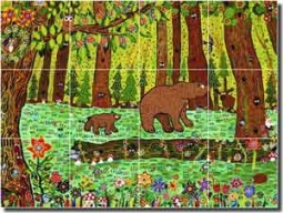 "Nebron Bear Animal Glass Tile Mural 24"" x 18"" - POV-GNA002"