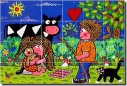 "Nebron Children Cow Ceramic Tile Mural 25.5"" x 17"" - POV-GNA005"