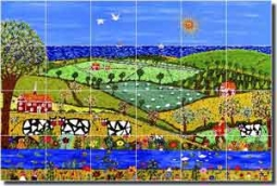 "Nebron Animals Cows Ceramic Tile Mural 25.5"" x 17"" - POV-GNA006"