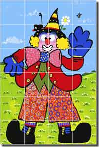 "Nebron Clown Children's Ceramic Tile Mural 17"" x 25.5"" - POV-GNA008"