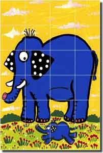 "Nebron Elephant Children's Ceramic Tile Mural 17"" x 25.5"" - POV-GNA009"
