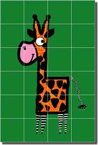 "Nebron Giraffe Animal Ceramic Tile Mural 17"" x 25.5"" - POV-GNA011"