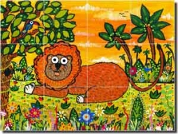 "Nebron Animal Lion Ceramic Tile Mural 24"" x 18"" - POV-GNA016"