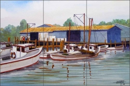 Deadrise Dock by Hugh Harris Ceramic Tile Mural - POV-HHA005