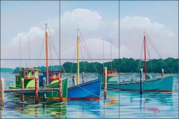 Harris Nautical Boats Ceramic Tile Mural - POV-HHA013