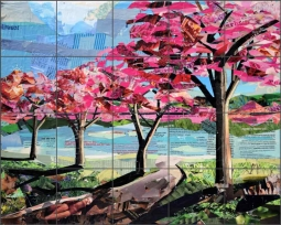 Blossoms by the Lake by Jim Nonas Ceramic Tile Mural POV-JN016
