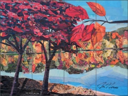 Autumn by the Lake by Jim Nonas Ceramic Tile Mural POV-JN019