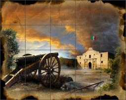 Remember the Alamo by Jim Todd Ceramic Tile Mural POV-JTA001