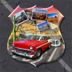 Arizona Route 66 Shield by Jim Todd Ceramic Tile Mural - POV-JTA005