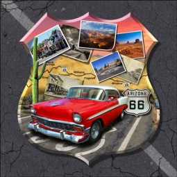 Todd Arizona Route 66  Landmark Ceramic Accent & Decor Tile - POV-JTA005AT