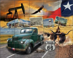 Todd Texas Route 66 Art Ceramic Tile Mural - POV-JTA007