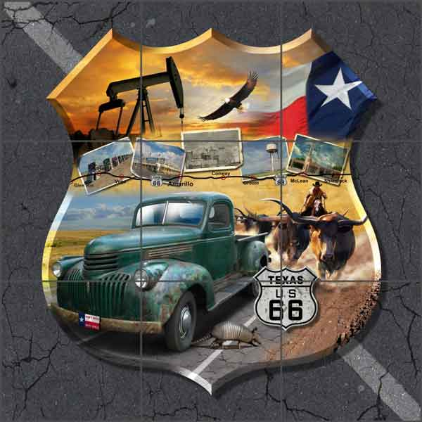 Texas Route 66 Shield Art Ceramic Tile Mural - POV-JTA008