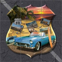 California Route 66 Shield Art Ceramic Tile Mural POV-JTA011