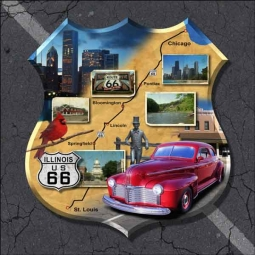 Illinois Route 66 - Shield by Jim Todd Ceramic Accent & Decor Tile - POV-JTA012