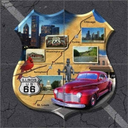 Illinois Route 66 - Shield by Jim Todd Floor Tile Mural - POV-JTA012