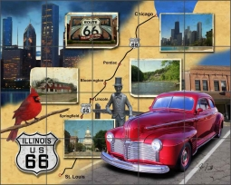 Illinois Route 66 - Landscape by Jim Todd Ceramic Tile Mural - POV-JTA013