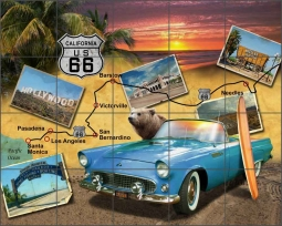 California Route 66 - Landscape by Jim Todd Ceramic Tile Mural - POV-JTA014