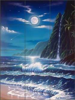 Moonlit Falls by Jeff Wilkie Ceramic Tile Mural - POV-JWA001