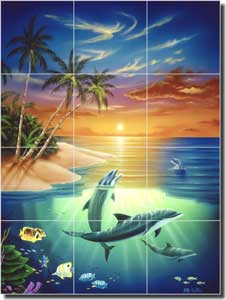 "Wilkie Tropical Dolphin Glass Tile Mural 18"" x 24"" - POV-JWA003"
