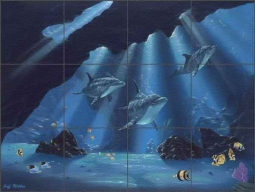 Wilkie Undersea Dolphins Glass Tile Mural - POV-JWA006