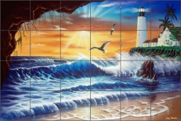 Enchanted Lighthouse by Jeff Wilkie Ceramic Tile Mural - POV-JWA011