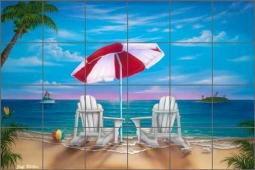 Wilkie Tropical Beach Ceramic Tile Mural - POV-JWA014