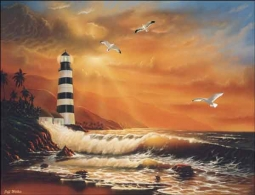 Majestic Lighthouse by Jeff Wilkie Ceramic Accent & Decor Tile - POV-JWA019