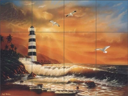 Majestic Lighthouse by Jeff Wilkie Ceramic Tile Mural - POV-JWA019