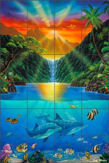 Secret Falls by Jeff Wilkie Ceramic Tile Mural - POV-JWA024