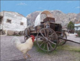 Rooster and Wagon by Jeff Wilkie Ceramic Accent & Decor Tile - POV-JWA028AT