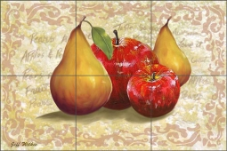 Apples and Pears III by Jeff Wilkie Ceramic Tile Mural - POV-JWA030
