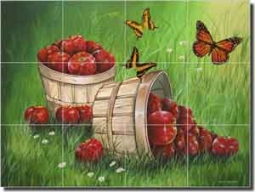 "Wilkie Fruit Apples Ceramic Tile Mural 17"" x 12.75"" - POV-JWA031"