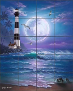Island Dreams Lighthouse by Jeff Wilkie Ceramic Tile Mural - POV-JWA032