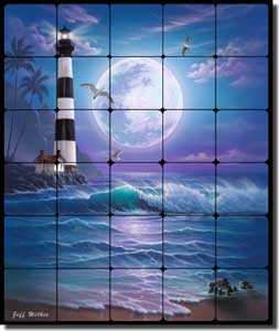 "Wilkie Seascape Lighthouse Tumbled Marble Tile Mural 20"" x 24"" - POV-JWA032"