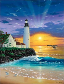 The Lighthouse II by Jeff Wilkie Ceramic Accent & Decor Tile - POV-JWA033AT