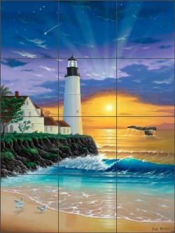 The Lighthouse II by Jeff Wilkie Ceramic Tile Mural - POV-JWA033