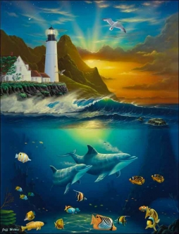 Heavenly Passage Lighthouse by Jeff Wilkie Ceramic Accent & Decor Tile - POV-JWA034AT
