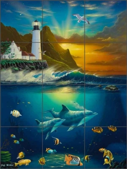 Heavenly Passage Lighthouse by Jeff Wilkie Ceramic Tile Mural POV-JWA034