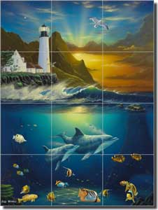 "Wilkie Sea Life Lighthouse Floor Tile Mural 24"" x 32"" - POV-JWA034"