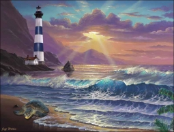 Morning Majesty Lighthouse by Jeff Wilkie Ceramic Accent & Decor Tile POV-JWA035AT